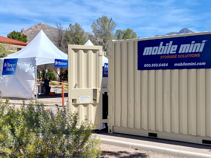 A healthcare provider in Arizona is using portable storage units to keep supplies safe and secure at their remote testing site
