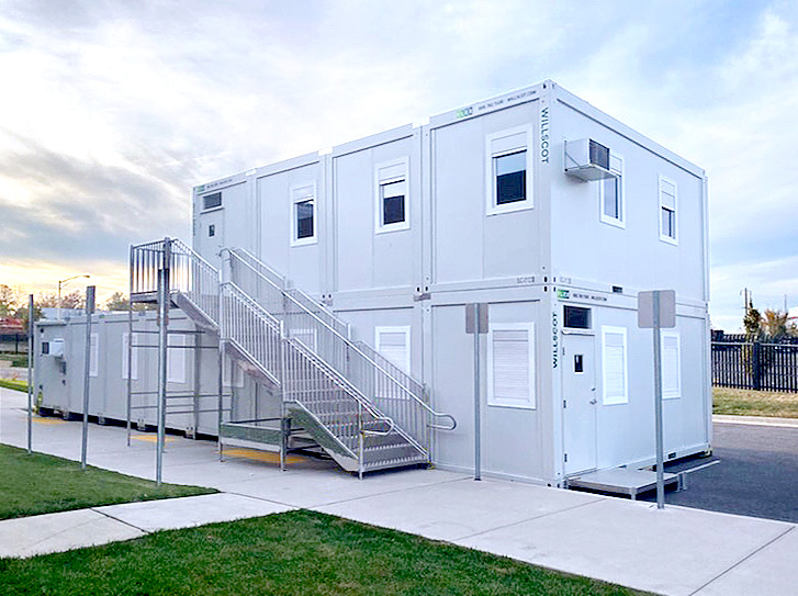 Exterior image of temporary covid-19 vaccination building