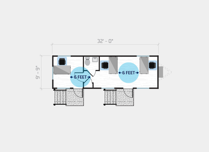 diagram shows 3 person job site in a 36' x 10' modular office
