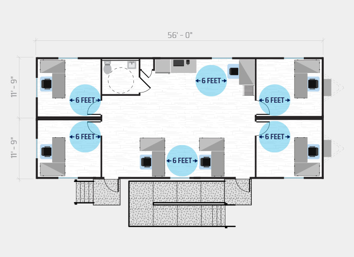 diagram shows 7 person job site in a 60' x 24' modular office