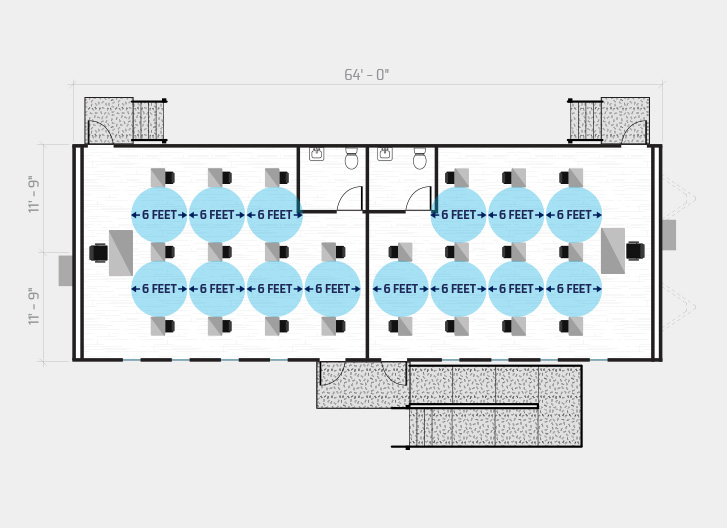 diagram shows 21 student classroom in a 68' x 24' temporary classroom