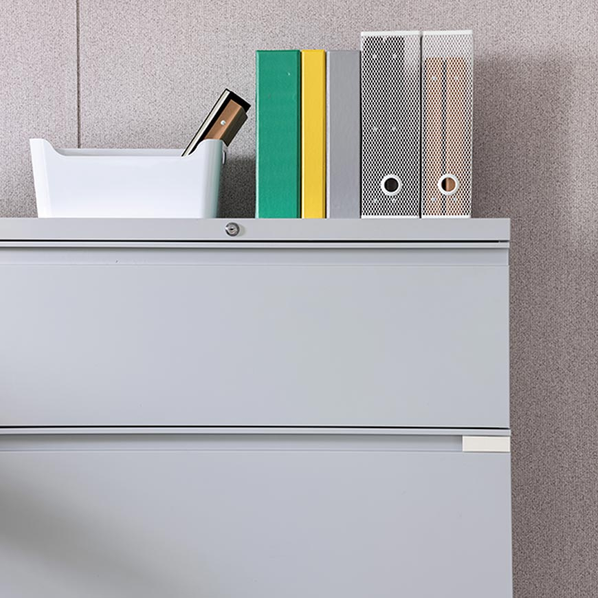 Lateral filing cabinet inside of a mobile office