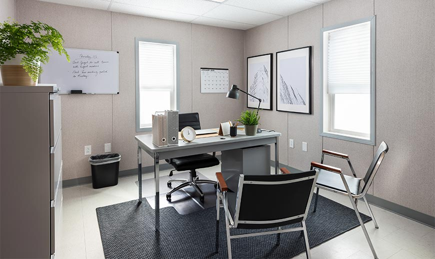 professional office package inside of a mobile office unit