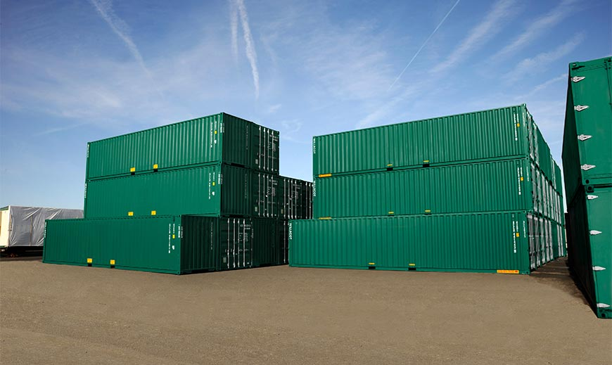 Storage containers stacked on top of each other